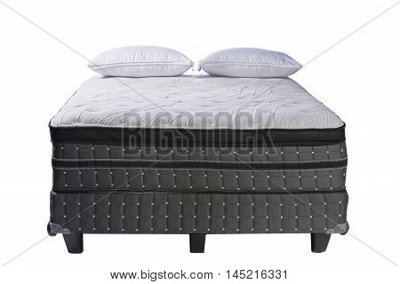 Mattress Queen size bed and pillows isolated on white