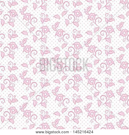 Seamless pattern floral ornamental background design for fabric in soft pastel pink colors vector illustration
