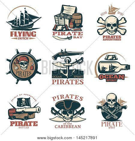Pirates emblem set in color with pirate adventures pirates of Caribbean pirate battles and many different headlines vector illustration