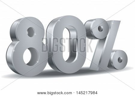 Vector of 80 percent in white background