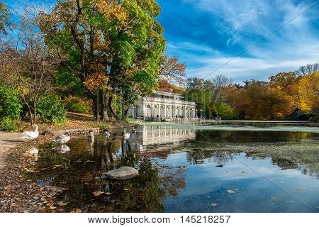 Beautiful autumn landscape in the Prospect Park Boathouse Brooklyn USA