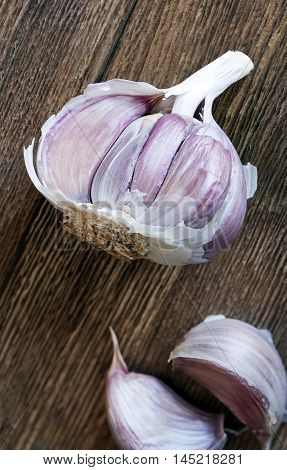 A closeup of a bulb of garlic