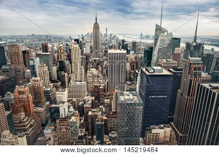 New York City midtown panorama arial view