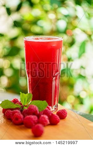 fruit non-alcoholic drink with raspberries