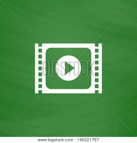 Simple Media player. Flat Icon. Imitation draw with white chalk on green chalkboard. Flat Pictogram and School board background. Vector illustration symbol