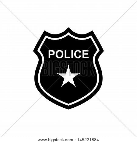 Police badge icon in flat design. Silhouette vector illustration