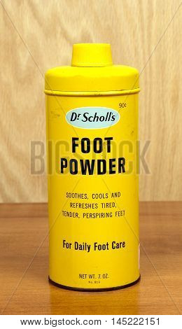 RIVER FALLS,WISCONSIN-SEPTEMBER 01,2016: A vintage can of Dr Scholl's brand foot powder. Dr Scholl's is a product of Bayer Incorporated.