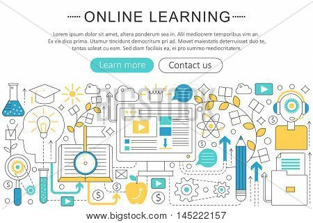 Vector elegant thin line flat modern Art design E-learning online education concept. Website header banner elements layout. Presentation, flyer and poster
