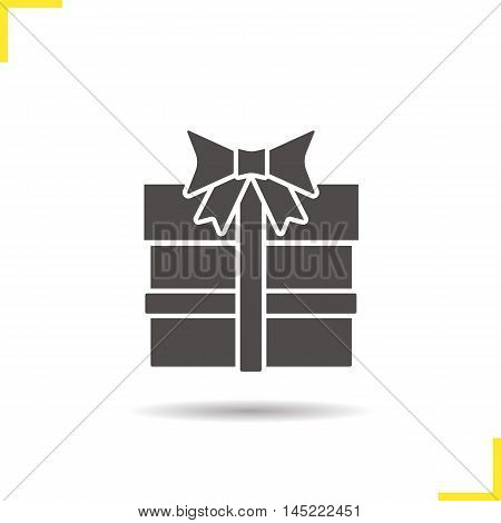 Gift box icon. Drop shadow silhouette symbol. Present. Vector isolated illustration