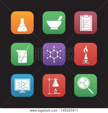 Chemical laboratory flat design icons set. Chemical reaction, mortar and pestle, test checklist, beaker with rod, molecular structure, lab burner, ring stand, flask. Web application interface. Vector