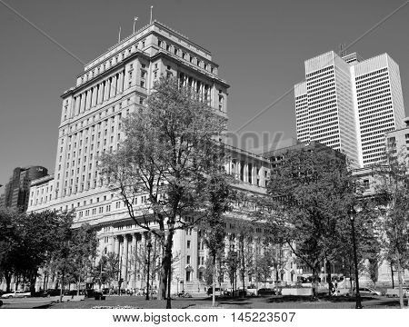 MONTREAL QUEBEC CANADA AUGUST 17 2016: Sunlife building in Montreal canada.The Sun Life Building is an historic office building at 1155 Metcalfe Street. Place ville Marie in background.