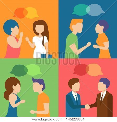 People talking. Meeting, talks, gossips, collection Cartoon character Vector isolated illustration
