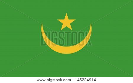 original and simple Mauritania flag isolated vector in official colors and Proportion Correctly.