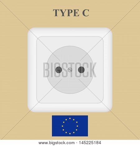 Europe type white vector power socket illustration.