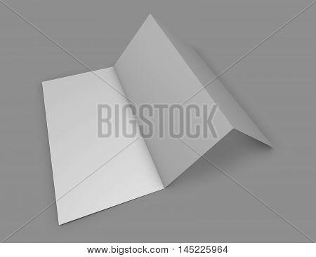 Folded vertical Z shape leaflet on gray background 3D illustration.