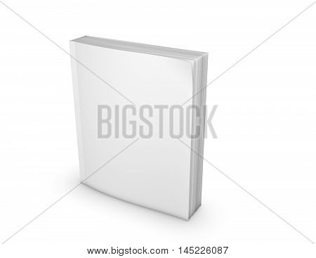 Paperback book with empty cover standing on floor 3D illustration.