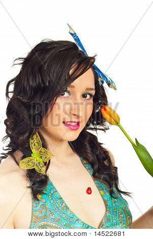 Head Shot Of Beauty Spring Girl