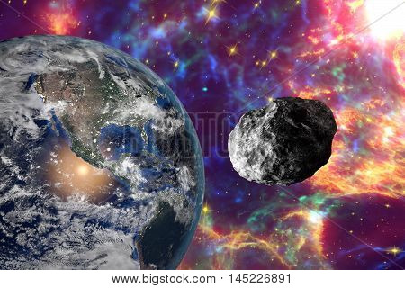 Asteroid approaching to the Earth on background with stars and galaxies, elements of this image furnished by NASA. Space background. Fantastic background. 3D illustration