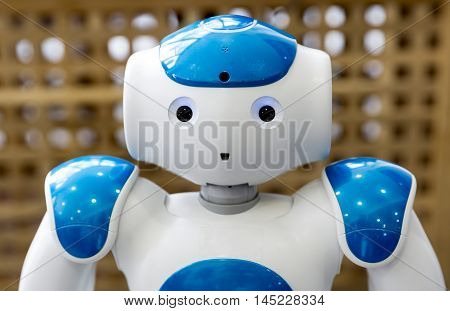 Small Robot With Human Face And Body. Ai