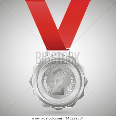 Silver medal isolated on a white background. Vector illustration