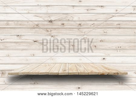 Empty Top Wooden Shelves And Wooden Wall Background