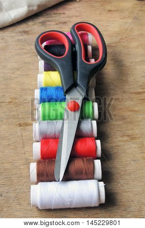 Colored Thread And Scissors