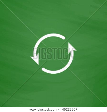 Arrow circle - cycle, loop, roundabout . Flat Icon. Imitation draw with white chalk on green chalkboard. Flat Pictogram and School board background. Vector illustration symbol