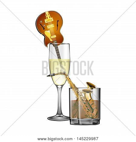 Jazz Instruments saxophone trumpet and jazz guitar in glasses with alcohol. Isolated objects on a white background can be used with any text or image.