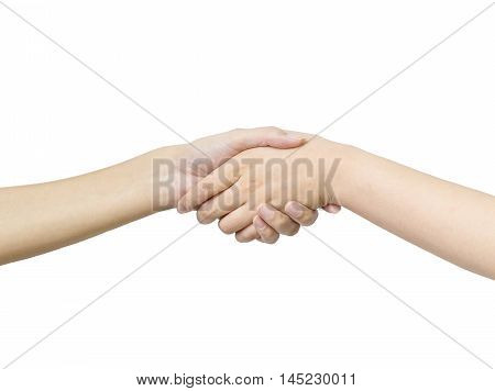 Closeup hand of asian woman shake hand with someone isolated on white background with clipping path