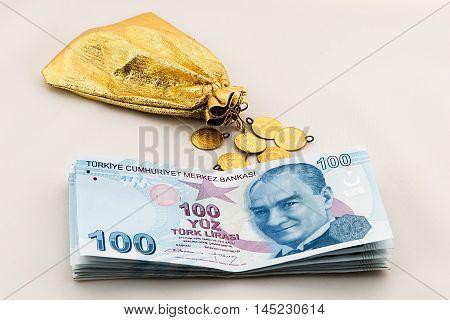 money, gold and investment,bank loan. turkish lira