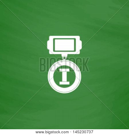 First place. Flat Icon. Imitation draw with white chalk on green chalkboard. Flat Pictogram and School board background. Vector illustration symbol