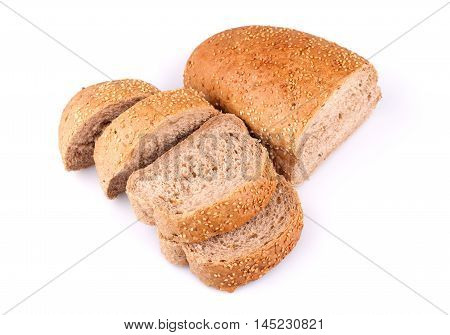 Sliced loaf of bread with sesame seeds isolated on white background.