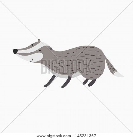 badger vector picture isolated on white background stands on four legs