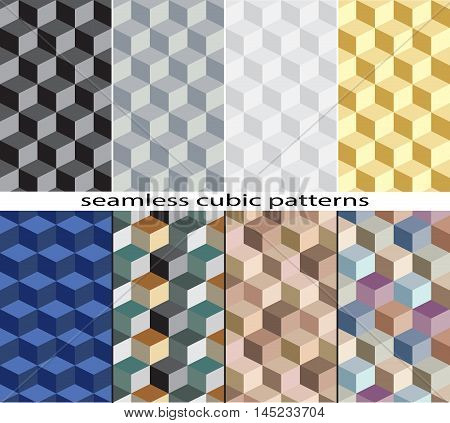 Set of seamless cubic patterns. Pattern swatches are included in vector file.