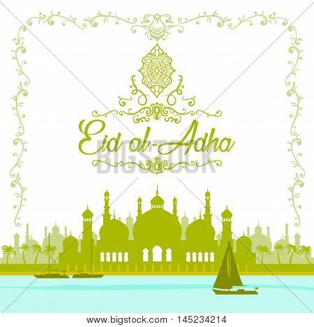 Illustration of Eid mubark and Aid said. beautiful islamic and arabic background mosque and calligraphy wishes Aid el adha greeting moubarak and mabrok for Muslim Community festival