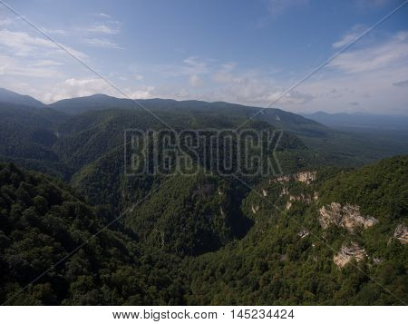 Beautiful View Of The Mountain Valley Wooded.