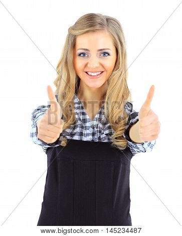 portrait of successful female administrator on a white background