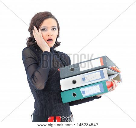 Nice business woman with documents  on a white background.