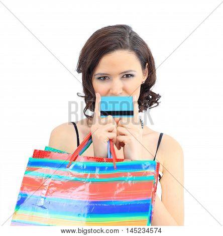 Shopping woman happy take credit card and shopping bag