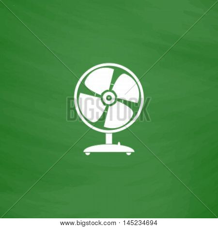 Table fan. Flat Icon. Imitation draw with white chalk on green chalkboard. Flat Pictogram and School board background. Vector illustration symbol