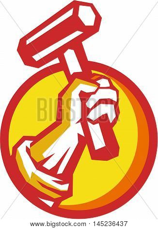 Illustration of a union worker hand holding hammer set inside circle on isolated background done in retro style.
