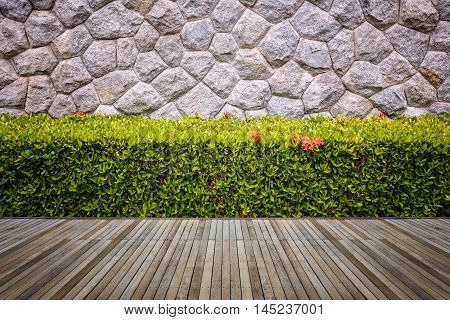 Woodecking Or Flooring And Plant In Garden Decorative