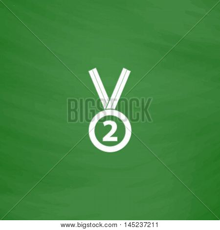 Second place award silver medal with ribbon. Flat Icon. Imitation draw with white chalk on green chalkboard. Flat Pictogram and School board background. Vector illustration symbol