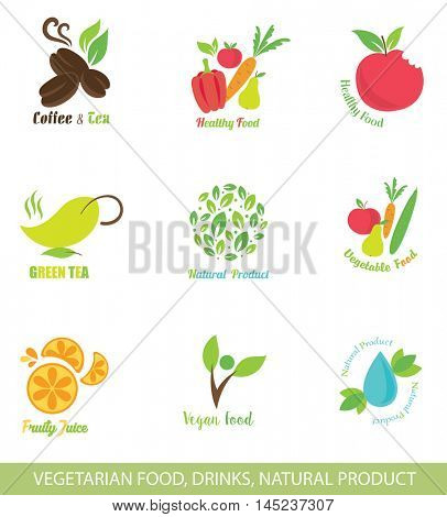 Set of  Icons and Design Elements for Organic Food. Vegetarian Food. Vegan Food. Natural Drinks. Healthy Eating.