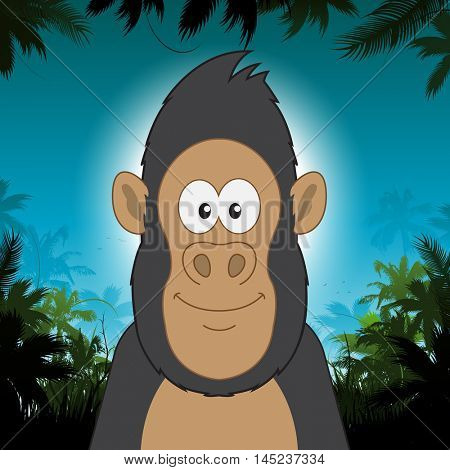 Cute cartoon gorilla in front of jungle background