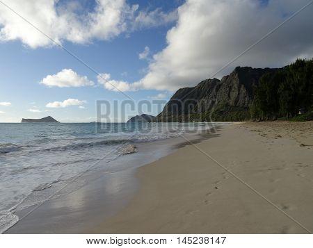 Waimanalo Beach at Dusk looking towards Rabbit and Rock islands on Oahu Hawaii. July 2016.