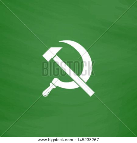 Hammer and sickle. Flat Icon. Imitation draw with white chalk on green chalkboard. Flat Pictogram and School board background. Vector illustration symbol