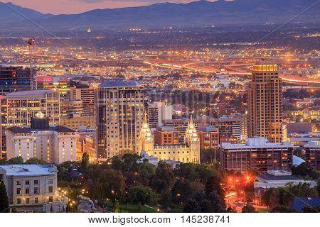 Downtown Salt Lake City, Utah At Night