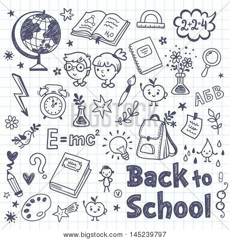 Back to School doodle set with cartoon school subjects. Back to School Vector Illustration. Notebook doodles hand-drawn illustration design.
