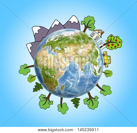 Planet Earth with drawn mountains, trees, a house and a car around it. Elements of this image are furnished by NASA. Environmental issues. Nature and ecology. Eco-friendly living.